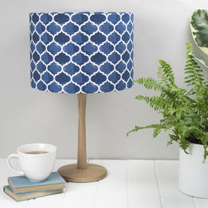 Isabel Lampshade Geometric Blue Pattern - bedroom