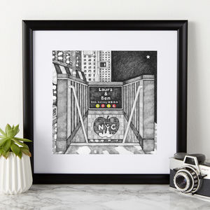Personalised New York City Subway Print - gifts for him
