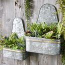 Set Of Two Zinc Wall Planters