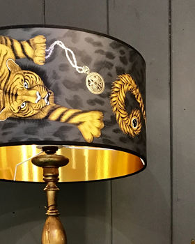 Handmade Tiger Lampshade With Gold Lining