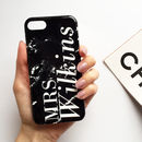 Black Marble Monogram Full Name Phone Case