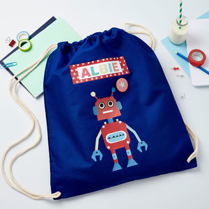 Boys Personalised Robot Bag