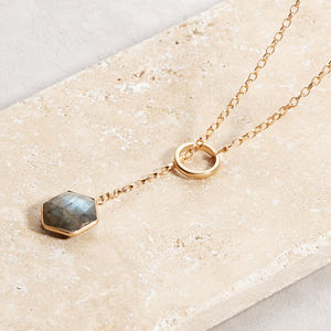 Rose Gold Plated Hex Gem Loop Necklace - necklaces & pendants