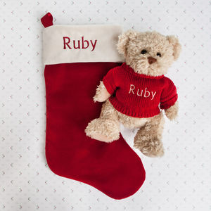 Bertie Bear's Personalised Christmas Stocking In Red - stockings & sacks