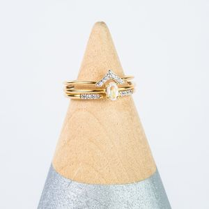14k Gold Vermeil Diamond Minature V Shape Hugging Ring - view all new