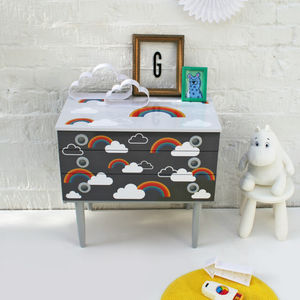 'Cloudy With Rainbows' Mid Century Chest Of Drawers