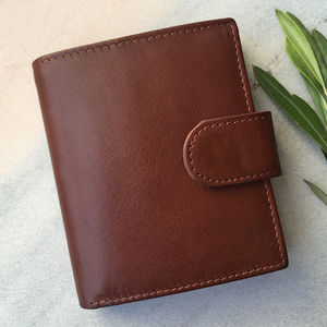 Men's Large Brown Leather Wallet With Rfid Protection