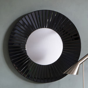 Black All Glass Round Wall Mirror - mirrors