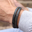 Personalised Men's Ruthenium Clasp Wrap Bracelet
