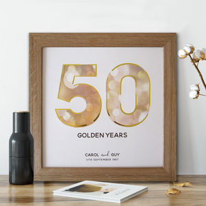 Framed Golden Wedding Anniversary Print - posters & prints