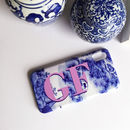 Blue And White Antique Print Monogram Phone Case