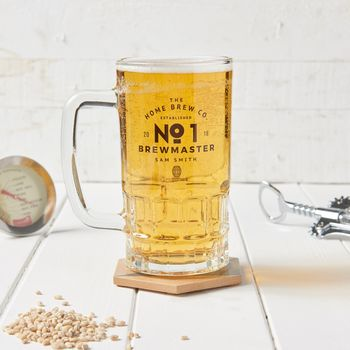 Personalised No. One Home Brewer Glass Tankard