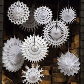 Set Of Ten Paper Snowflake Decorations - christmas decorations