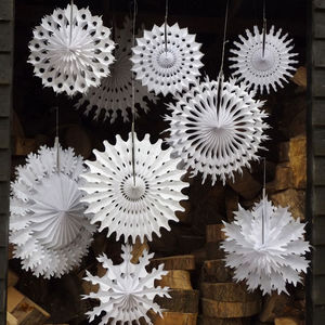 Set Of Ten Paper Snowflake Decorations