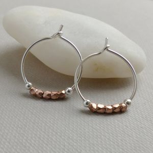 Petite Rose Gold And Sterling Silver Hoops - earrings