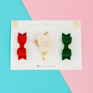 Eva Rose Hair Clip Collection - christmas party wear for children