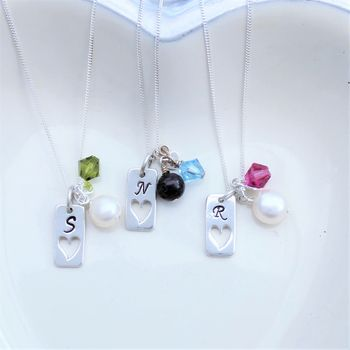 Personalised Pearl And Silver Tag Necklace
