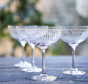 Set Of Six Greek Style Champagne Saucers - drink & barware