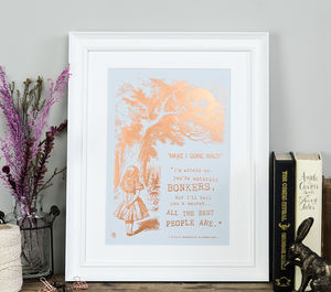 Alice In Wonderland Bonkers Metallic Foil Print - pictures & prints for children