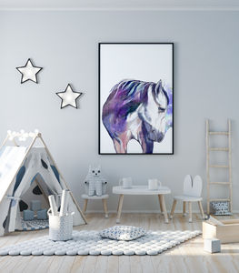 Horse Water Colour Art Print - baby's room