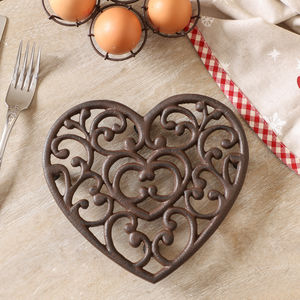 Personalised Cast Iron Heart Trivet Gift - tableware