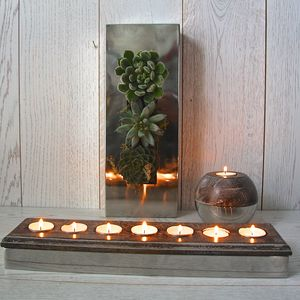 Steel And Wood Seven Tealight Holder - outdoor decorations
