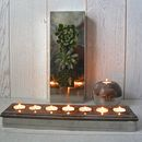 Steel And Wood Seven Tealight Holder