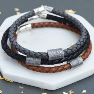 Personalised Leather Fingerprint Bead Bracelet - gifts for him