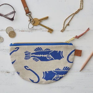 Bass And Hook Nautical Half Moon Linen Purse