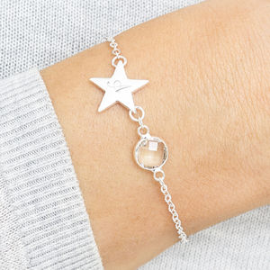 Personalised Initial Star Birthstone Bracelet - children's jewellery