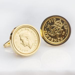 Personalised Lucky Sixpence Gold Plated Cufflinks - cufflinks
