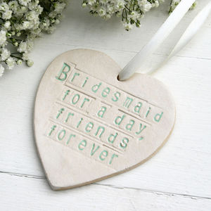Bridesmaid Ceramic Hanging Heart
