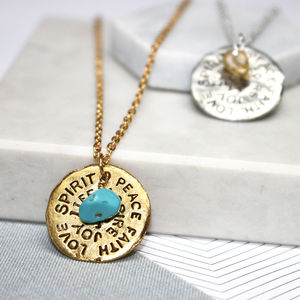 Birthstone Mantra Necklace - may birthstone