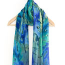 Tropical Print Voile Scarf With Gift Box And Card