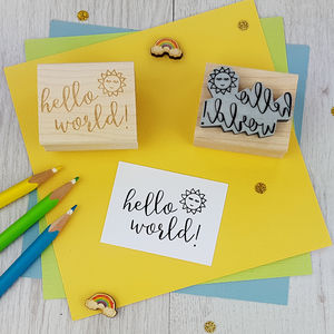 Hello World Rubber Stamp - baby & child sale