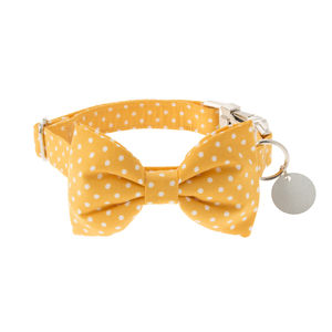 Buttercup Yellow Polka Dot Bow Tie Dog Collar - pet collars