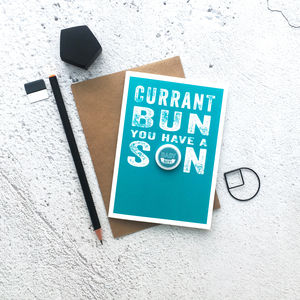 'Currant Bun' Baby Boy Badge Card