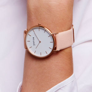 Pink And Rose Gold Vegan Leather Watch - watches