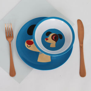 Blue Dog Melamine Plate - dining room
