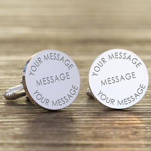 Personalised Any Message Silver Cufflinks - mens