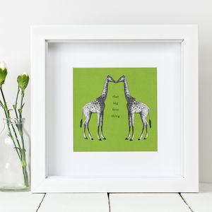 Framed 'That Big Love Thing' Giraffe Print - posters & prints