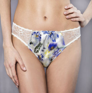 Pansy Blue Silk Briefs