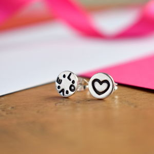 Handmade 'Love Heart' Round Silver Stud Earrings