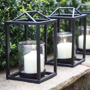 Lantern With Black Frame - new in garden