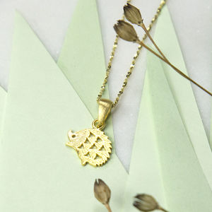 Gold Plated Sterling Silver Hedgehog Necklace