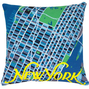 Contemporary New York Blue Map Tapestry Kit