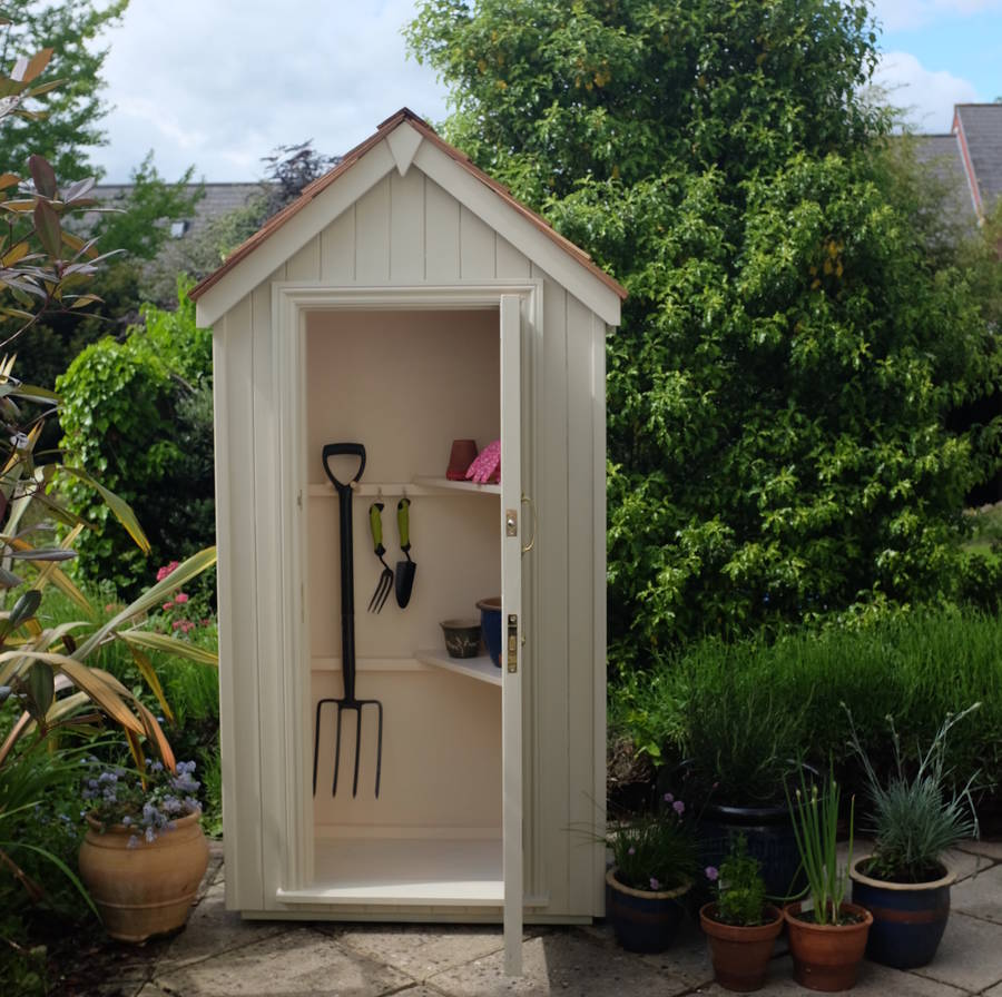 Sentry box tool store by the handmade garden storage for Storage huts for garden