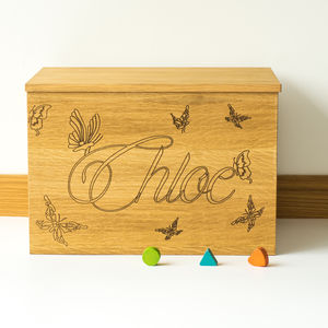 Personalised Butterflies Wooden Toy Box
