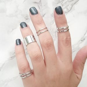 Silver Tube Midi Rings Set Of Five