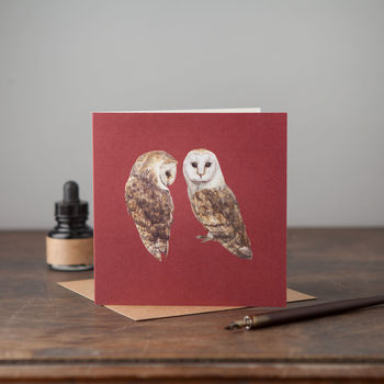 Pair Of Barn Owls Card